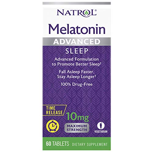 Natrol Melatonin Advanced Sleep Tablets with Vitamin B6 Helps You Fall Asleep Faster Stay Asleep Longer 2Layer Controlled Release 100% DrugFree 10mg 60 Count