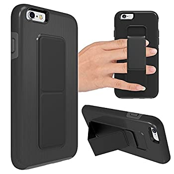 iPhone 6 Plus Case iPhone 6S Plus Case ZVEdeng Vertical and Horizontal Stand Hand Strap Kickstand Shockproof Heavy Duty Dual Layer Cover for Apple iPhone 6 Plus / 6s Plus 5.5   Black and Grey