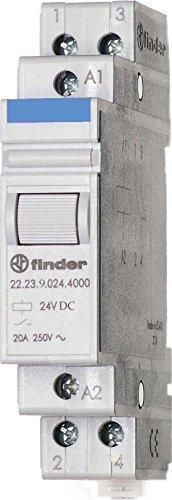 Finder 222390244000PAS Installationsschütze, 24VDC, 1Schließer, 1Öffner, 20A, Kontaktmaterial: AgSnO2