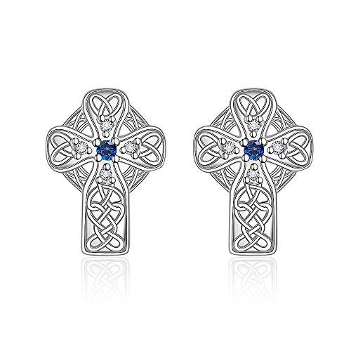 Cross Celtic Knot Earrings 925 Sterling Silver Sapphire Crystal Stud Irish vintage Infinity Circle Earring for Women Teen Girls Dainty Trendy Clip On Piercing Jewelry