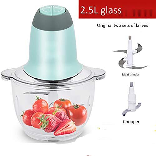 LJJ 2.5L Elektro-Fleischwolf Mini Nahrungsmittelzerhacker, 4 Bi-Level-Blades, 250W Glasschüssel Kitchen Küchenmaschine Für Fleisch, Gemüse, Obst, Zwiebel Und Nüsse