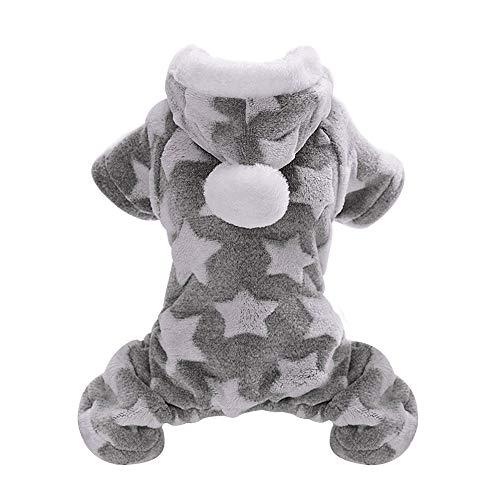 JINAN Mono de invierno clido para cachorros y gatos, disfraz para perros pequeos y medianos (color: gris, talla: XL)