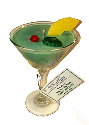 The Scented Castle Ginger Appletini Scented Happy Hour Soy Candle in a Martini Glass