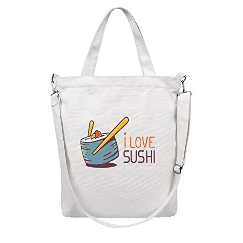 Womens Illustration-of-great-blue-green-sushi-with-title-i-love-sushi- Multifunctional Reusable Canvas Shopping Bags Paper Bulk Apply To Suitable with Supermarket