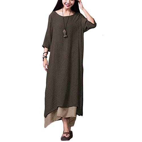 Romacci Damen Kleid Unregelmäßiger Rand Beiläufige Boho Lang Maxikleider, Braun Coffee, 5XL