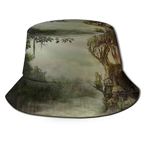 RTBB - Sombrero de pescador 3D, diseño de bosque, casita de árbol,...