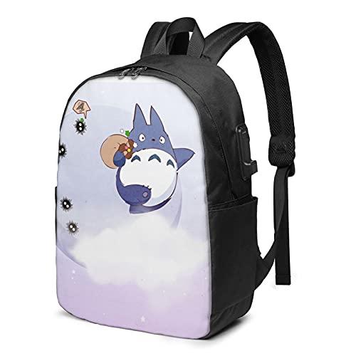 Totoro Zaino Usb Viaggio Anti Furto Zaino Con Cavo Di Ricarica Auricolare Interfaccia Grande Capacità Adatto 17 Pollici Notebook Scuola Lavoro Viaggio