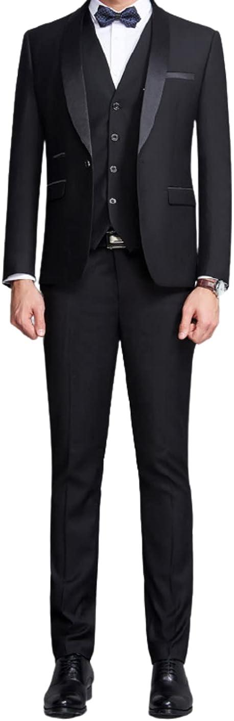 Men's Black 2 Pieces Wedding Tuxedos Blazer Luxury Casual Dress Jacket & Pants