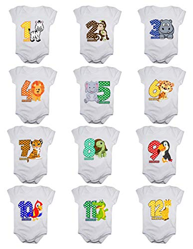 Kit Body de Bebê Mês Aniversário Menino - 12 bodies (Tamanho Único, Safari colorido)