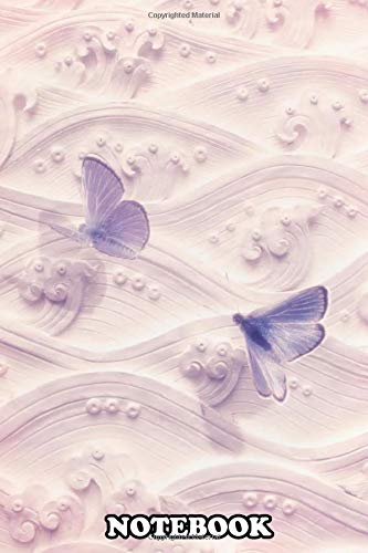 """Notebook: Cream Waves And Violet Butterflies , Journal for Writing, College Ruled Size 6"""" x 9"""", 110 Pages"""
