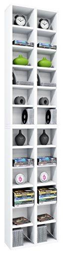 VCM Almera Estante para colección, Madera, Blanco, 175x42x20 cm