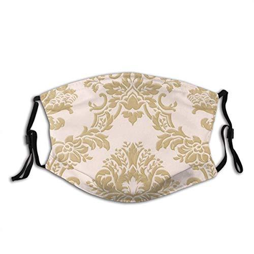 Kay Sam Atmungsaktive Unisex-Gesichtsschutzhülle Wiederverwendbare, klassische Seidendamast-Pinkgold-Stoffmaske Sturmhauben-Stirnbänder für Erwachsene im Freien
