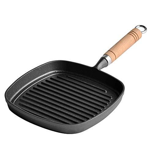 Barm Gusseisen Grillpfanne, 12-Zoll-quadratische Pfanne, mit Holzgriff, Antihaftbeschichtung ohne Beschichtung, Kochwerkzeug, zum Grillen von Specksteak Fleisch Fisch und Gemüse