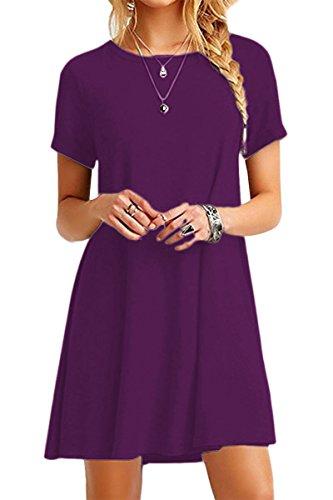 YMING YMING Damen Kleid Kurzarm Tunika Rundhals Lose T-Shirt Kleid Casual Basic Kleid Dunkel Lila XL/DE 42