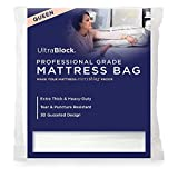 Ultrablock Mattress Bags for Moving or Storage – 6 Mil Plastic Cover, Tear and Puncture Resistant, Non-Slip Grip, Extra Thick Queen Size Bag