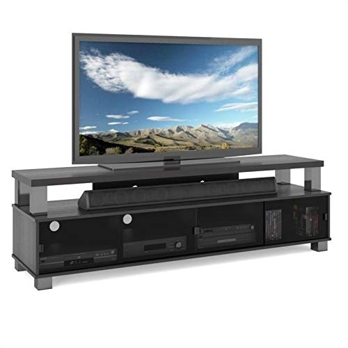 """Pemberly Row 75"""" 2 Tier Entertainment Center TV Stand Console, for TV's up to 80"""", in Ravenwood Black"""