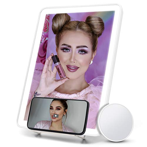 FASCINATE Lighted Makeup Mirror with 10x Magnification and Phone Holder, Vanity Mirror with Lights 40 Led 3 Lighting Touch Control Light Up Beauty Mirror Portable, Lite Up Wall Hang Mirror White