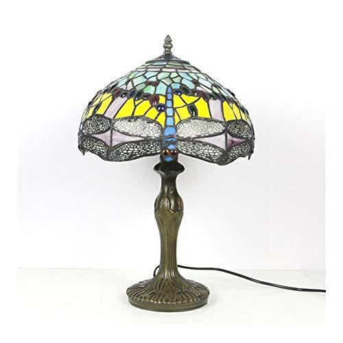 Al estilo europeo retro oficina libélula lámpara de mesa redonda de cristal de 12 pulgadas escritura de ojos hotel de decoración del restaurante luces-