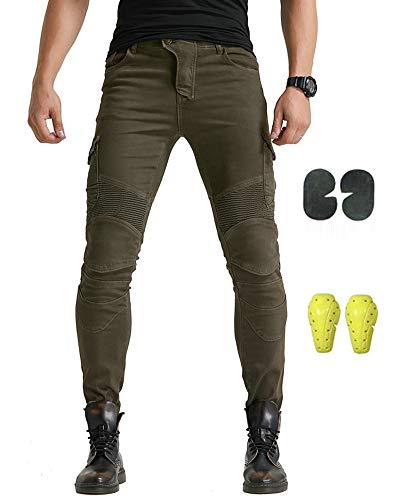GELing Motorradhose Arbeitshosen Jeans Fracht Verstärkt durch Aramid Schutzauskleidung,Grün,S