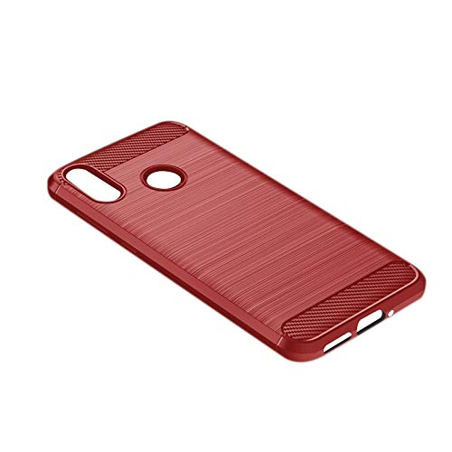MAGFUN Adecuado para Zenfone MAX M2 Case, Anti-Drop Silicone TPU Brushed Protective Soft Shell Rojo