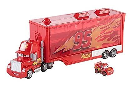 Cars 3 Mack camión mundo de aventuras, camión transporte coches de juguetes (Mattel FLG70)