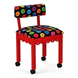 Arrow 8016 Wood Sewing and Craft Chair with Gingerbread Design and Under Seat Storage, Print Upholstery Fabric by Riley Blake, Red with Buttons Print Fabric