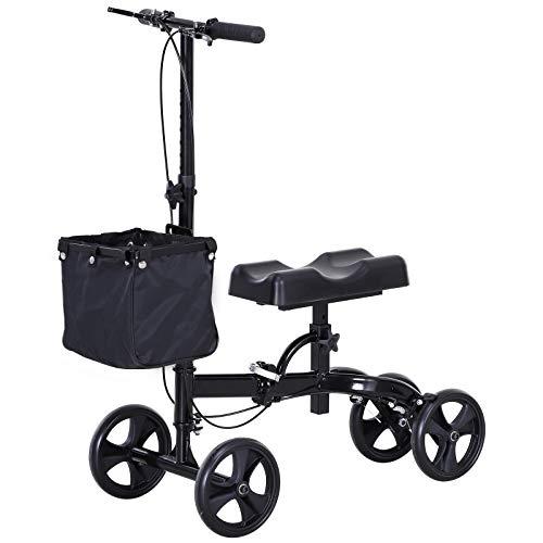 HOMCOM Medical Foldable Steerable Leg Knee Walker Scooter with Basket Attachment - Black