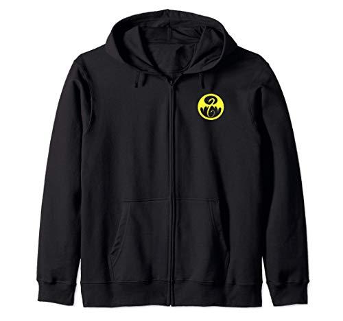Marvel Iron Fist Pocket Yellow Logo Sudadera con Capucha