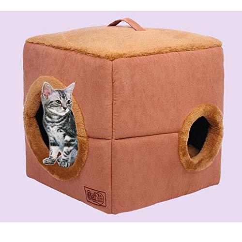 XWQYY Tragbare Hund Katze Bett Faltbare Winter-weiche gemütlichen Schlafsack-Matten-Auflage, Cat Cave Bed Kleiner Hund Anti-Rutsch-bewegliche Schlafentasche mit abnehmbarem Mat,Brown-41X41X41cm
