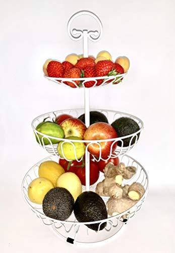 Auroni Obst Etagere 3 stöckig Obstkorb Metall Draht - weiß - Obstschale mehr Platz auf der Arbeitsplatte Küche - 47 cm hoch, max. Durchm. 30 cm