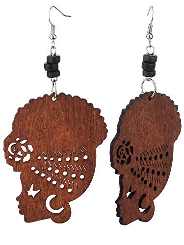 Wooden Flower Turban African Woman Head and Bead Dangle Hook Earrings - Brown, Black Bead