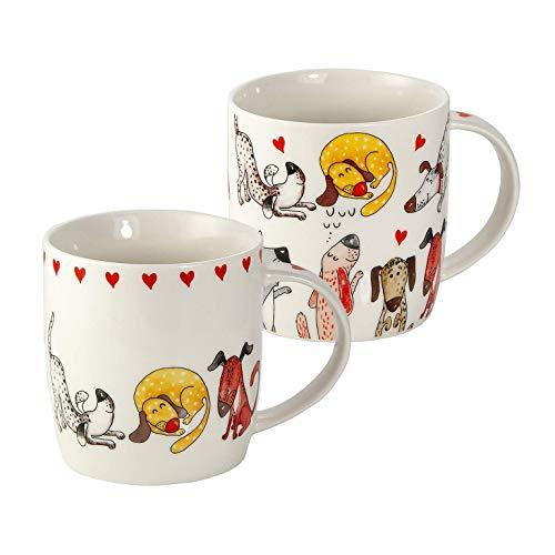 SPOTTED DOG GIFT COMPANY 2er Set Tassen Hund Kaffeebecher Kaffeetassen Becher Keramik Porzellan, weiß mit Hundemotiv Geschenk für Hundeliebhaber Hundebesitzer und Hundefreunde