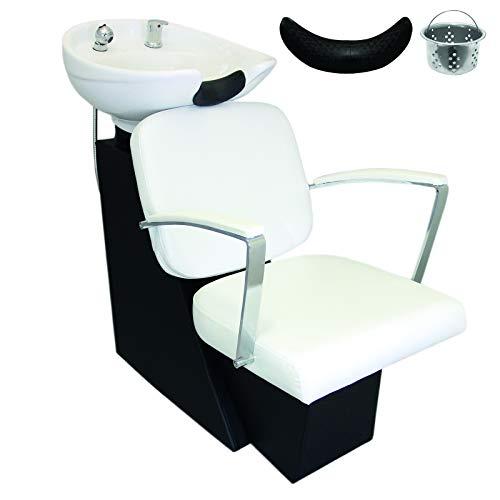 Bac à Shampooing Fauteuil de Coiffure Shampooing Lavabo Réglable Blanc  Appui Tête Mobilier Salon de Beauté Coiffure Barbier