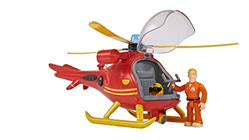 Simba 109251661 - Feuerwehrmann Sam Hubschrauber Wallaby, mit Tom Thomas Figur, mit Licht und Originalsound, mit drehbarem Rotor und mechanischer Seilwinde, 24cm, für Kinder ab 3 Jahren