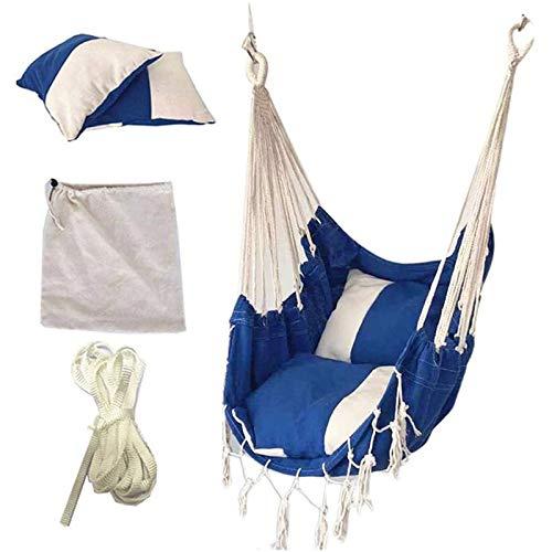 Yaootely Silla Colgante de Borla, Exterior para Adultos y Ni?Os Silla Colgante de Interior con ColchóN de Lona Azul