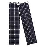 Módulo Solar Fotovoltaico Flexible 100W 12V 2 Piezas Kit Panel Solar 50W Cargador Solar Monocristalino con Conexión PV para caravanas, casas móviles y baterías 12V(2 * 50w)