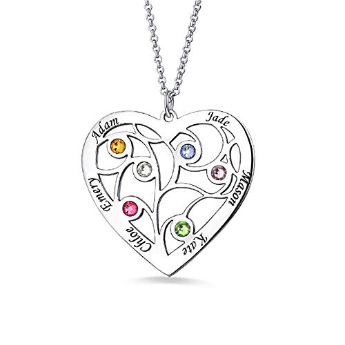 Tanwenling33 Collar Personalizado en Forma de Corazón árbol de la Vida de Plata de Ley 925 6 Nombres Piedras Colgante Grabado Aniversario Regalo para Mujer Familia Mama