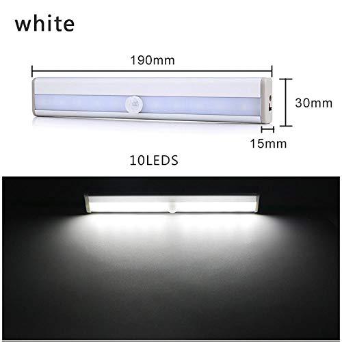Veilleuse LED Motion Sensor Veilleuse 6/10 LED Applique Murale Armoire Armoire Lit sous Armoire Veilleuse pour Placard Escaliers Cuisine 10Ledcoldwhite