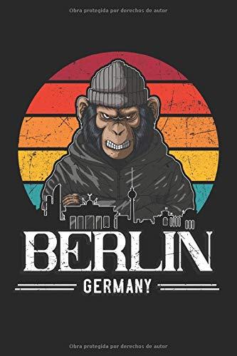 Berlin Germany: Berlin Retro Monkey alemania Gifts Cuaderno rayado (formato A5, 15,24...
