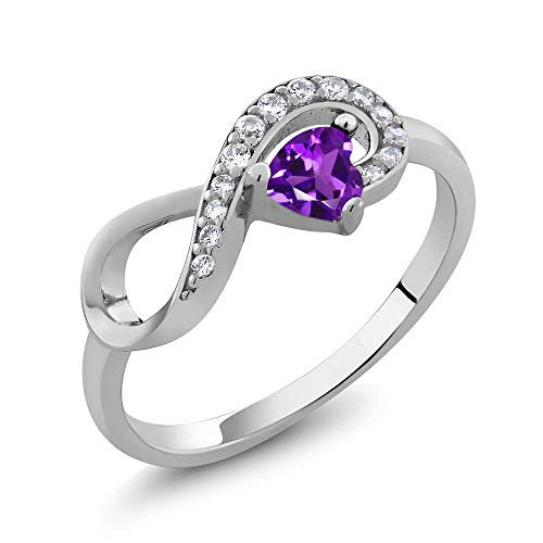 Gem Stone King 925 Sterling Silver Purple Amethyst Women's Infinity Ring 0.33 Ctw Heart Shape Gemstone Birthstone (Size 7)