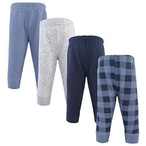 Hudson Baby Pantalones Deportivos Acolchados para bebé, 4 Unidades, Azul Marino a Cuadros, 3 Años