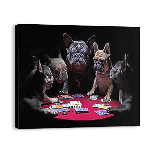Bold and Brash Hunde Leinwand Bilder für Französische Bulldoggen spielen Poker Lustige Hunde Tiere Wand Kunstdrucke wandbild Wanddekoration für Wohnzimmer Schlafzimmer, Geschenk für Männer,40x50cm