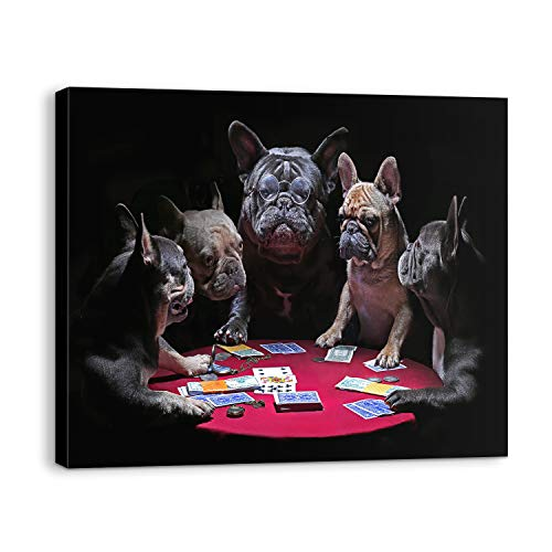 Dogs Playing Poker Canvas Wall Art 16x20 Inch, French Bulldog Play Poker Prints Bold And Bluff Ornament, Funny Printings And Great Quality, Modern Wall Decor For Home Bathroom Bedroom Ready To Hang