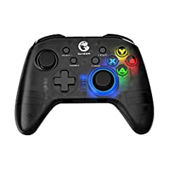 【Universal Compatibility】T4 pro Wireless Game Controller Comes with Phone Bracket. It supports Android phones and tablets, Windows XP/ 7/8/10, macOS and Deeply Supports Apple Arcade, MFi Games, Switch Games. 【Semi-transparen Cover.RGB Backlighting】Se...