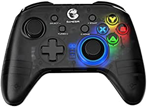 GameSir T4 pro Wireless Game Controller for Windows 7 8 10 PC/iOS/Android/Switch, Dual Shock USB Bluetooth Mobile Phone Gamepad Joystick for Apple Arcade MFi Games, Semi-Transparent LED Backlight