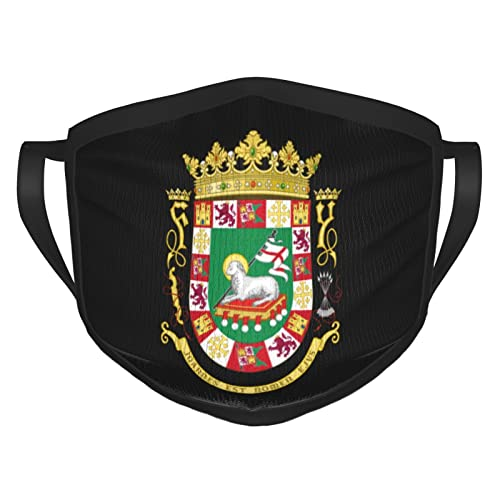 Coat of Arms of Puerto Rico Face Mask Reusable Breathable Comfortable Washable Dustproof Cover for Women Men Black