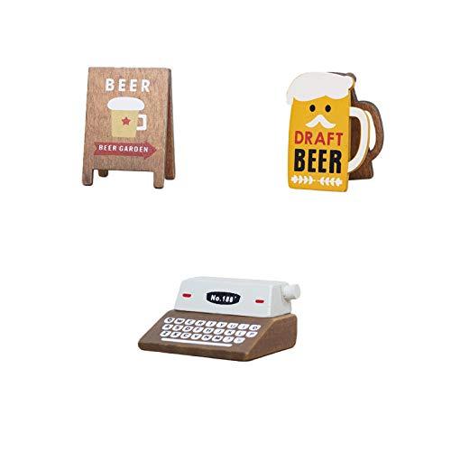 Grafts - Mini clip para mensajes, impresora de gramófono retro, bonito expositor de tarjetas nominativas de madera, soporte para fotos, marco de fotos, decoración para el hogar (3 unidades)