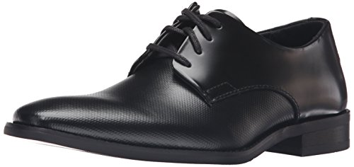 Calvin Klein Men's Ramses Oxford, Black Box Texture Leather, 8.5 Medium US