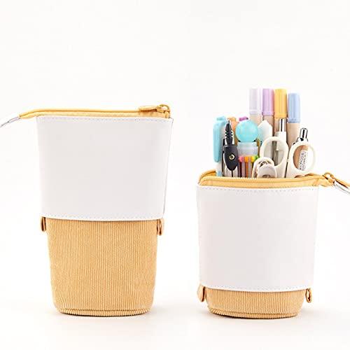 Yellow18,5 x 8,5 x 6,5 cm Estuche retráctil creativo para lápices, papelería escolar, bolsa de almacenamiento Kawaii de color sólido, bonito soporte para bolígrafos