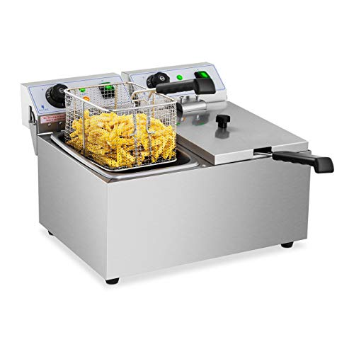 Royal Catering Freidora Electrica Profesional Doble Para Hostelería RCEF 08DB (2 x 8 Litros, Potencia 2 x 3.200 Watt, Temperatura: 50 – 200 °C, Zona Fría, Tapas Incluidas)